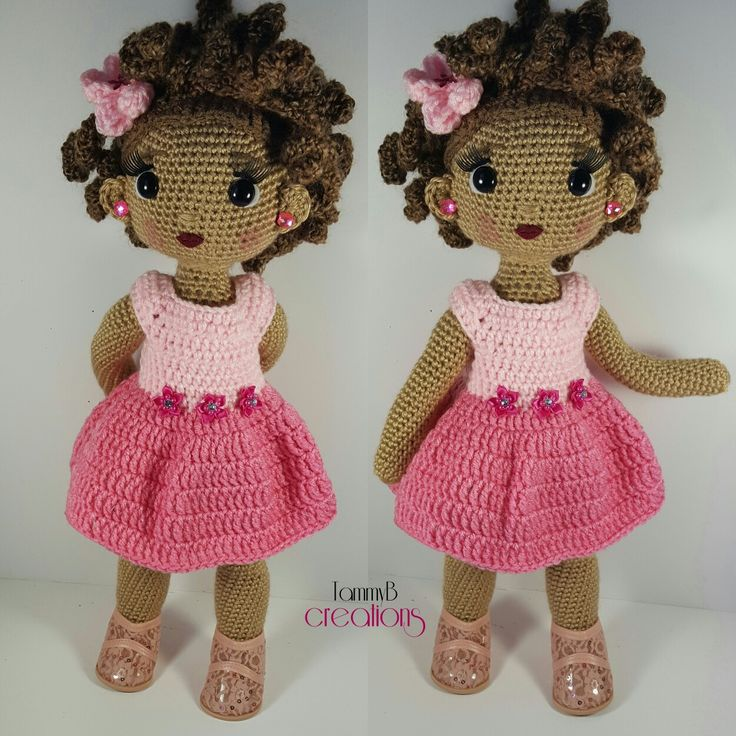 African American Crochet Doll in pink flowered dress. www.facebook.com/tammybcreations