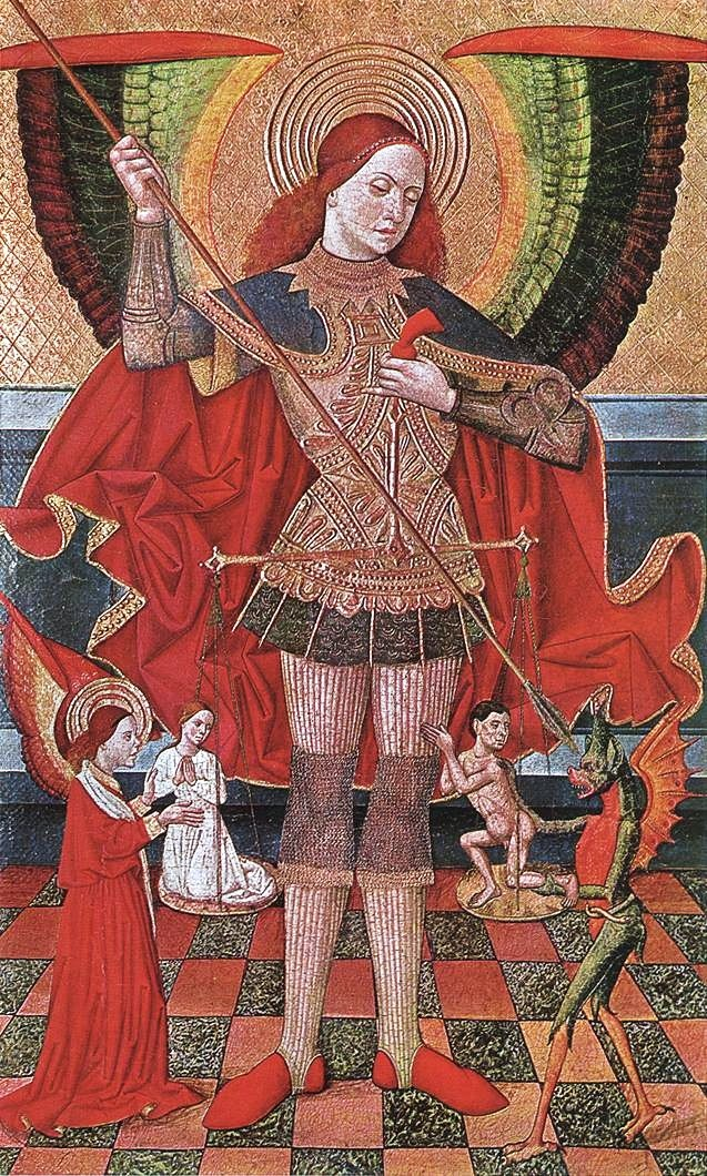 Archangel Michael with his scales & a spear by Juan de la Abadia, 1490.