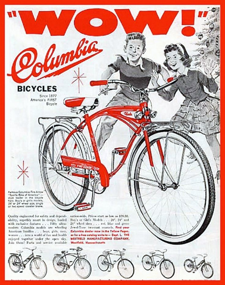 Vintage Columbia bicycle ad for Christmas 1950's.                                                                                                                                                                                 More