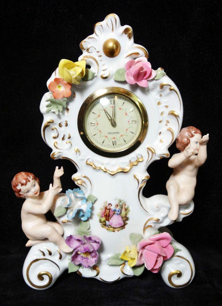 Vintage Dresden Ornate Porcelain Mantle Clock Infants Flowers Mercedes