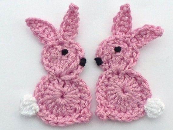 Applique, coniglietti pasquali 2 grande uncinetto rosa, carte, raccoglitori, appliques e abbellimenti all'uncinetto