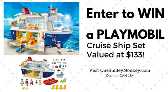 Enter the PLAYMOBIL Cruise Ship Giveaway, playset includes cruise ship with two ensuite bedrooms, bar, fillable swimming pool, and many more accessories!
