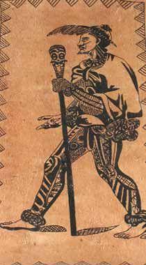 Breadfruit tapa with tattooed man design