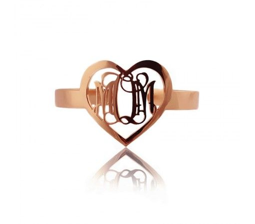 Rose Gold Plated Monogram Bracelets in Heart Shape RMH9