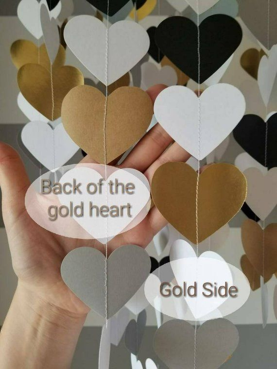 Heart Shape Paper Mobile Black White And Gold Baby Room Decoration Wedding Decoration Home Decoration Child Baby Decor Paper Mobile Baby Room Decor Baby Decor