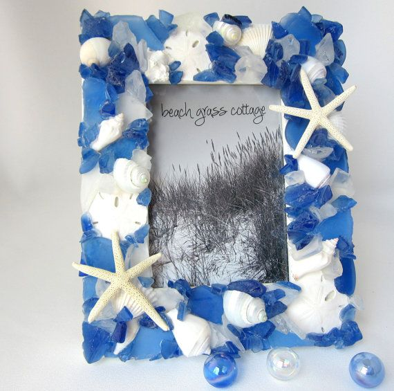 Beach Decor Seashell & Sea Glass Frame by beachgrasscottage