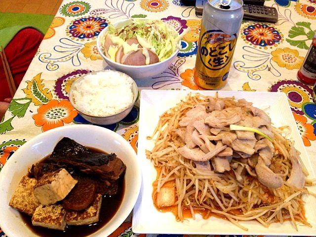 コラーゲンモリモリ~ - 5件のもぐもぐ - 赤エイの煮付け。豚トロ炒め&もやしキムチ炒め。チャーシューサラダ。 by basilico