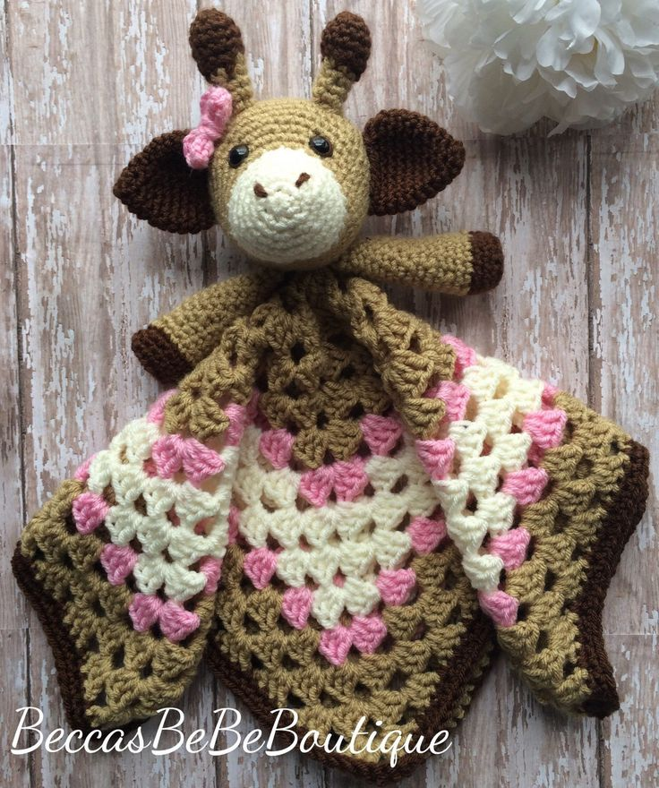 A personal favorite from my Etsy shop https://www.etsy.com/listing/266214236/giraffe-security-blanket-baby-girl