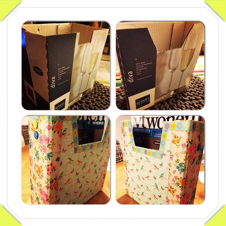 Tijdschrift houder van wijn karton doos