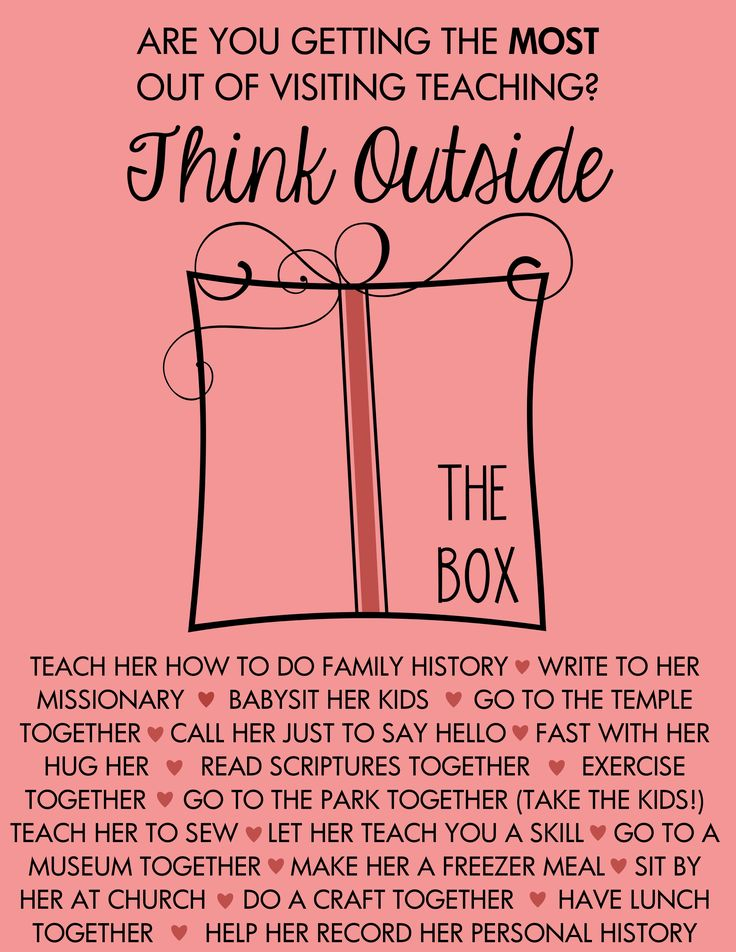 I created this digital handout for our ward RS. Think outside the Visiting Teaching box!