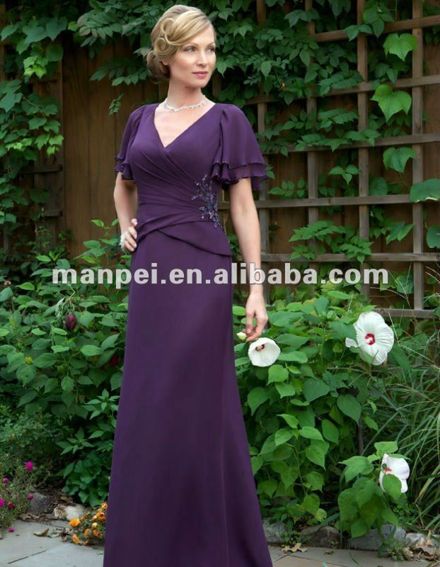 Aliexpress.com : Buy (MH 25)Custom Made Purple V neck Short Sleeve A line Applique Mother Of The Bride Dresses 2012 from Reliable mother of the bride dresses 2012 suppliers on Manpei Wedding Store $121.05