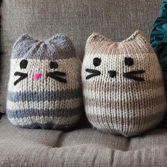 Mini Kitty Pouf - free pattern by Purl Soho and like OMG! get some yourself some pawtastic adorable cat shirts, cat socks, and other cat apparel by tapping the pin!