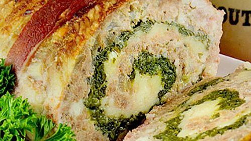Pain de viande roulé aux épinards et à la feta