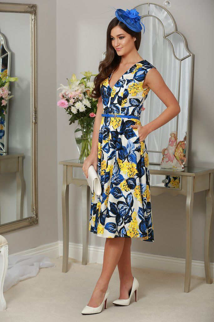 Cecile A-Line Belted Yellow & Blue Dress
