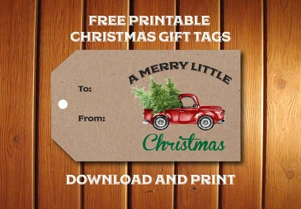 Free printable Red Truck Christmas Gift Tags for adorning all your holdiay packages with a retro truck hauling a Christmas Tree. Easily download and print.