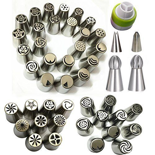 Complete Russian Piping Tips 33 Pcs Set Youkee 32pcs 304 Stainless Steel Piping Tips Professional Cake Decoratingcake Decorating Toolsdecorating