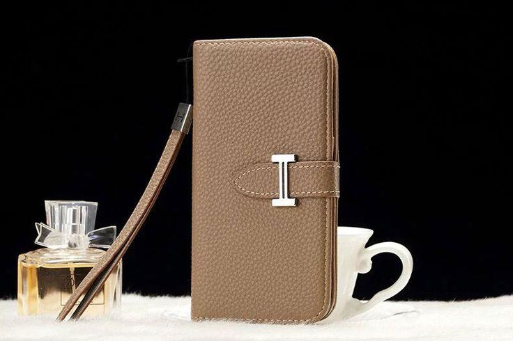 Leather hermes Galaxy Note 5 Edge Wallet Case Khaki