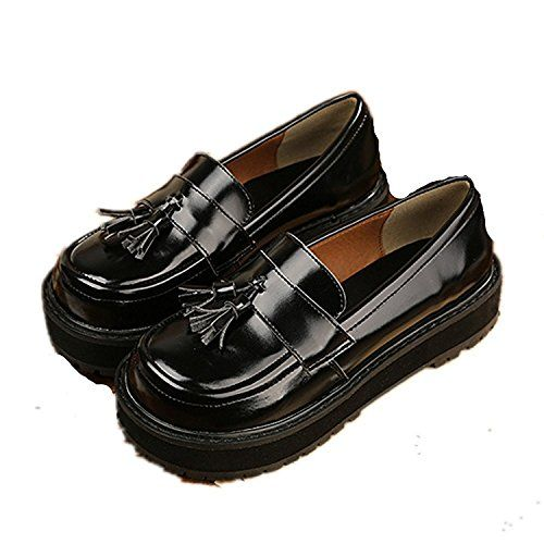 Yinggaisbn Shoes Womens Girls Leather Rivet Japanese Students Maid Uniform Dress Shoes Black8 BM US * You can get additional details at the image link.(This is an Amazon affiliate link and I receive a commission for the sales)
