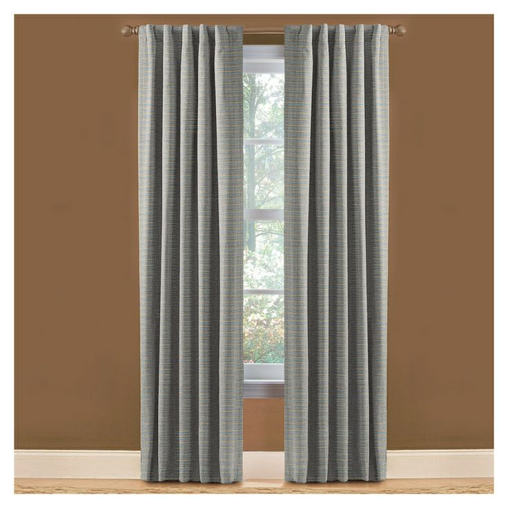 shop style selections roberta 84in l solid blue thermal rod pocket curtain panel at