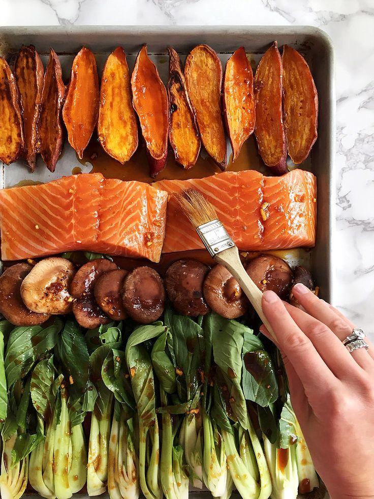 salmon Asian sheet pan dinner
