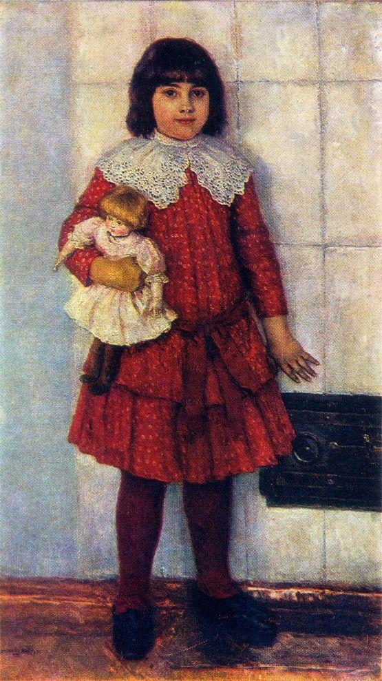 Суриков В.И. – Портрет О.В.Суриковой, дочери художника. 1888.  Холст, масло. Государственная Третьяковская галерея.
