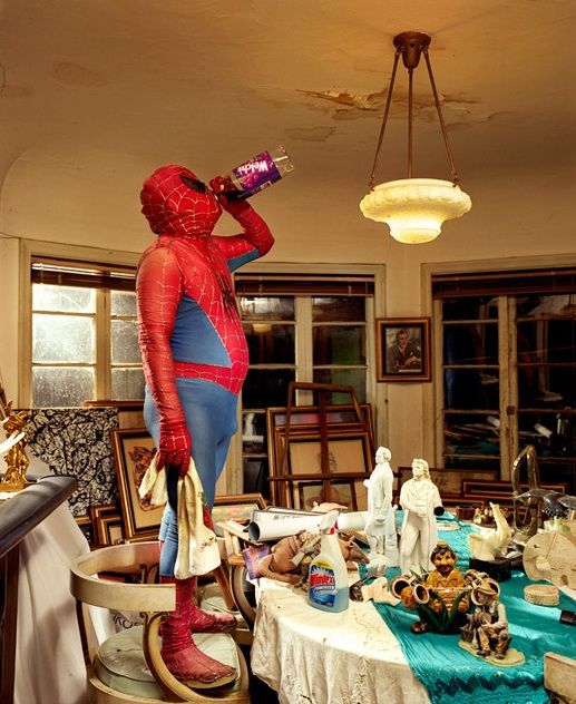 Gregg Segal's series of superheroes doing chores