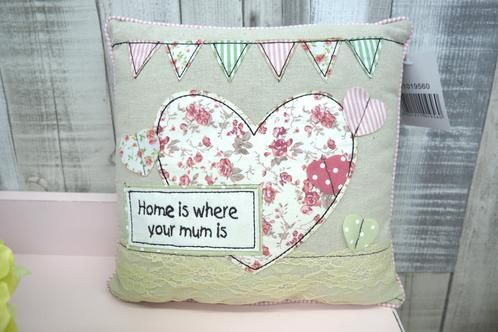 Home Where Mum Is Bunting Small Cushion £7.99  Home is where your mum is square cushion   Approx. 24cm x 24cm
