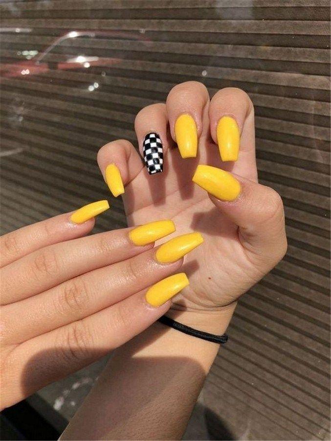 Yellow Checkered Nails Checkered Nails Acrylic Nails Yellow Yellow Nails Design