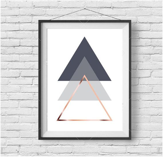 Gray Printable Art Abstract Poster Geometric Print Triangle Wall Art Rose Gold Print Scandinavian Poster Geometric Decor INSTANT DOWNLOAD