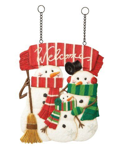 "Snow Family Design Post by Outdoor Decor. Save 18 Off!. $45.24. Painted resin & metal. 11.75""L x 0""W x 16.5""H. Part of the cheerful Holly Jolly collection. ""Welcome"". Original design by © Creative Crickets. Gathered together in the chill of winter, this family of snowmen smiles under their long carrot noses. Wrapped in colorfully striped scarves, a top hat, and ear muffs, they wish a ""Welcome"" to all friends and neighbors who stop by. What a wonderful complement to your outdoor space, sur..."