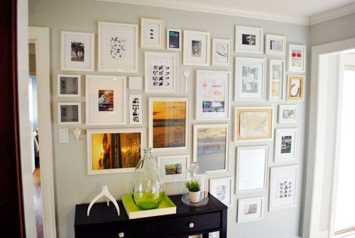 The Hallway Full Monty | Young House Love: Photo Collage, Galleries Wall, Living Room, Photo Wall, Collage Wall, Frames Collage, Pictures Frames, Pictures Wall, Wall Ideas