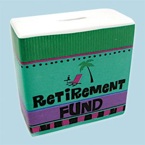 "Adult Money Bank (Retirement Fund) Brightly coloured banks help you save money...whatever the reason! Made of dolomite with rubber stopper. (5""L x 5""H x 2""W) (Product Number SM4925) $12.98 CAD"