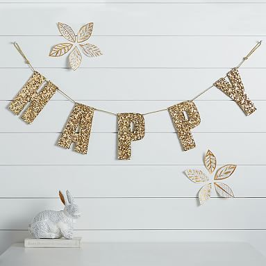 The Emily & Meritt Gold Glitter Letters and Cord #pbteen