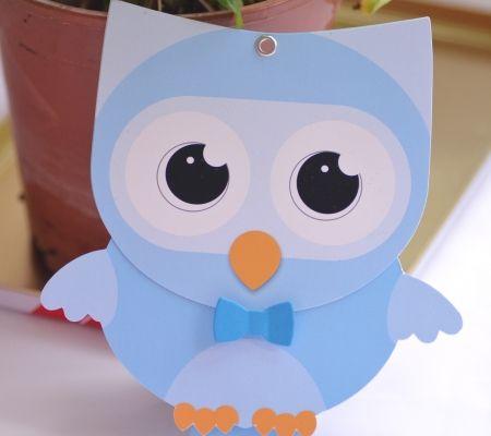 Invitatii botez amuzante Bufnita cu cap rotitor | Funny Baby Boy Owl with turning head - Handmade Card