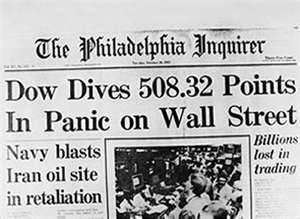 Black Monday :stock market crash of 1987
