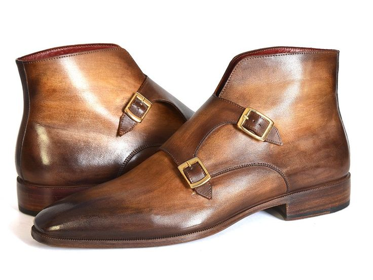 - Men's double monkstrap boots - Brown hand-painted calfskin upper - Antique finished leather sole - Bordeaux leather lining and inner sole This is a made-to-order product. Please allow 15 days for th