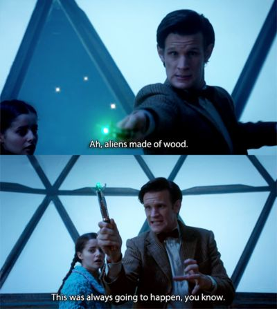 What I love is how he particularly addresses this to the sonic, like it's his screwdriver's fault it doesn't do wood.
