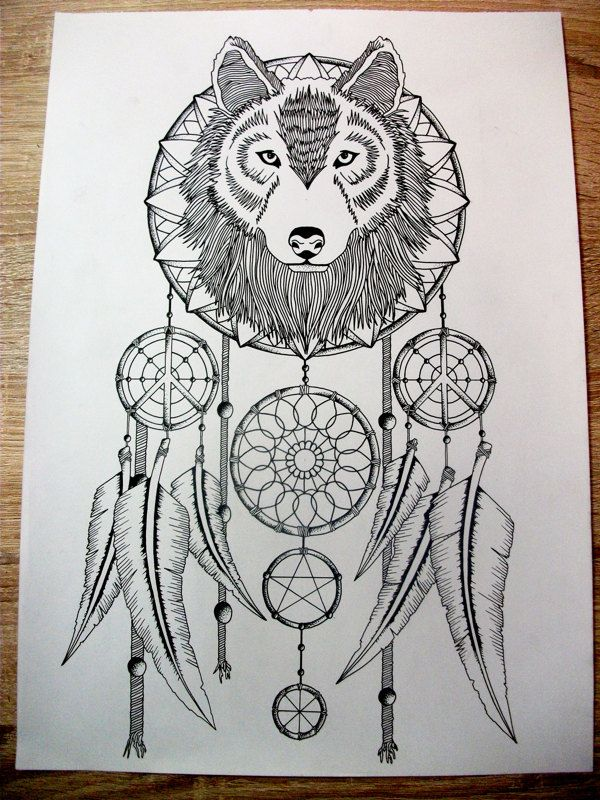 wolf dreamcatcher drawing related - photo #2