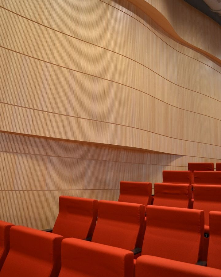 """""""Panels were formed to shapes in the field so that the different layers of the floor plan could have different footprints. Tongue and groove vertical joint to make the panels appear continuous.""""-Sarah Brown, CEO of Topakustik USA. Project at University of Illinois Chicago, School of Medicine Auditorium. Contractor: Joseph Construction #topakustikusa #sounddesign #acoustics #groovedpanels #wood #chicago @uicamiridis"""