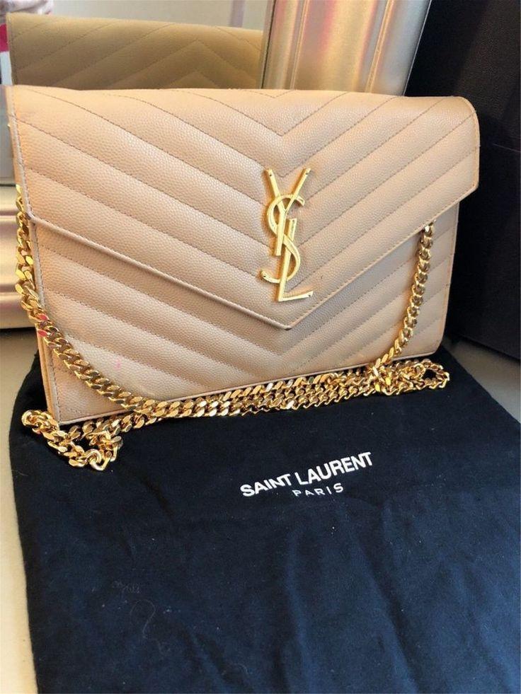 Authentic New ysl Yves Saint Laurent MONOGRAM beige