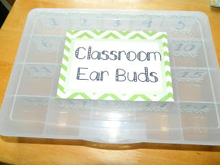 To store classroom ear buds you buy a embroidery floss box and number the compartments for student storage.