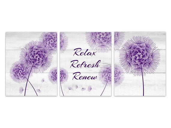 Purple Bathroom Wall Art, Relax Refresh Renew, Dandelion Wall Art, Wood Effect Dandelion Bathroom Decor, Rustic Bathroom Art - BATH133(Etsy のWallArtBoutiqueより) https://www.etsy.com/jp/listing/465562892/purple-bathroom-wall-art-relax-refresh