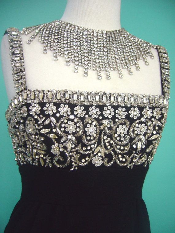 STUNNING RHINESTONE ENCRUSTED Late 1950s Couture by Poshporscha, $298.00