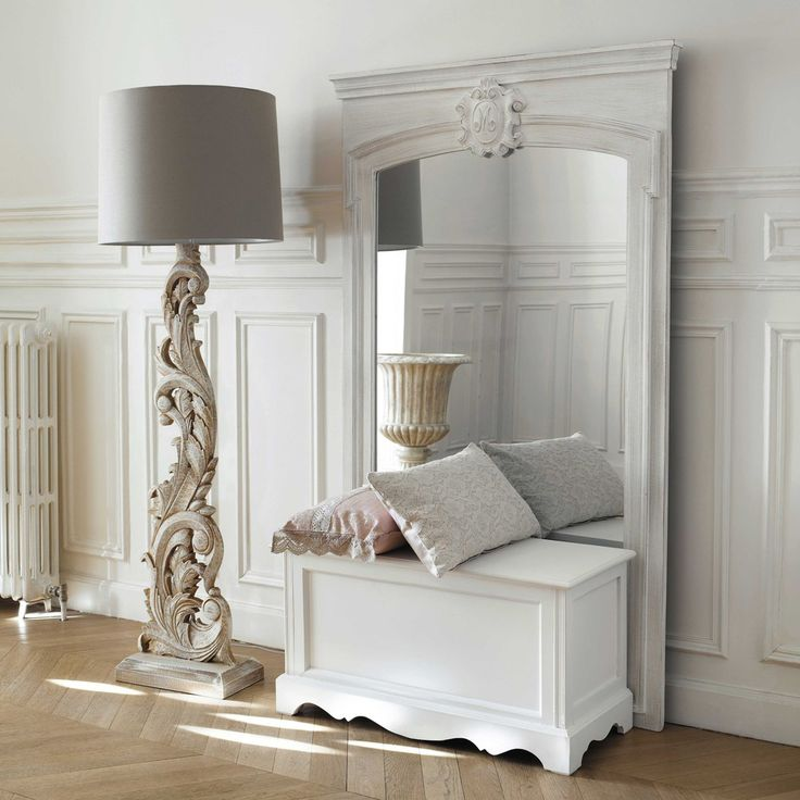 Miroir trumeau en bois blanc H 160 ...