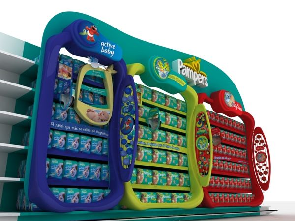 Pampers category shelf display by German Gutiérrez, via Behance.