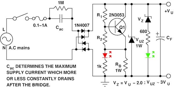 AC Power your circuit without a transformer (Cac = 0,47 µF/400 V pentru cca. 50 mA  curent la iesire