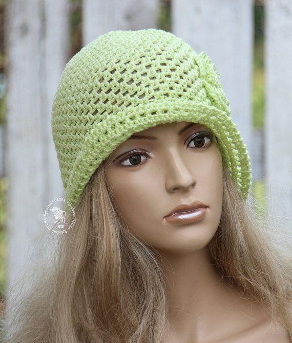 c8713e77598 Lime green hat Sun cloche Summer hat Garden Hat Crochet