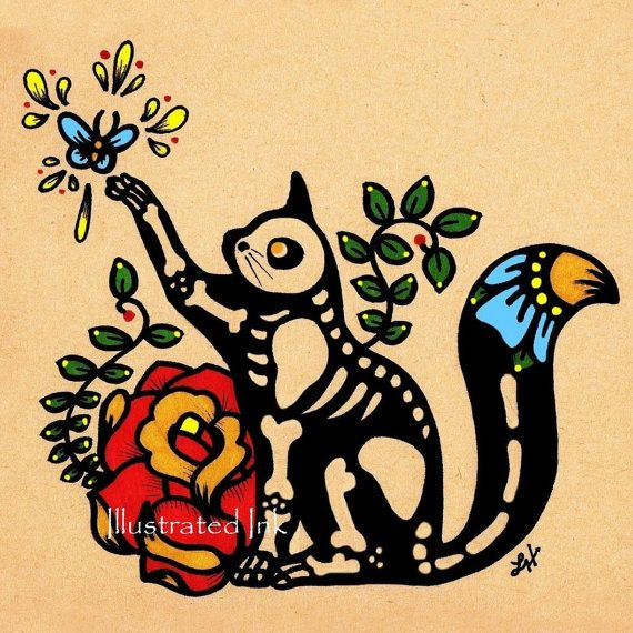 Day of the Dead CAT Dia de los Muertos Art Print 5 x 7 - Choose your own words - Shelter Donation                                                                                                                                                                                 Más