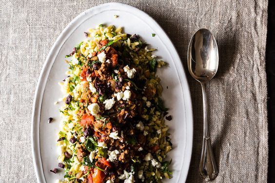 """""""Greek"""" Lamb with Orzo — ground lamb with tomatoes, spinach and feta"""