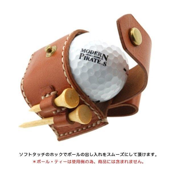 本革製ゴルフボールポーチ・ホックタイプ/シングル(キャメル)の画像3枚目